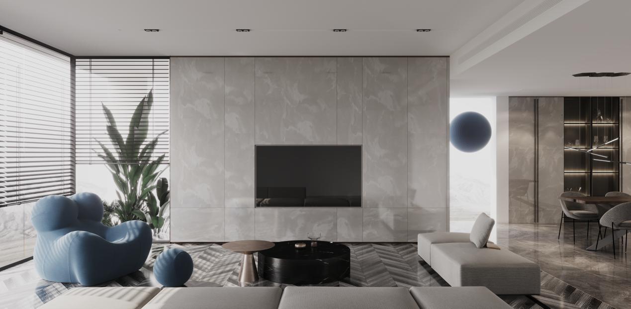 (▲满墙设计的电视墙磅礴大气)图片